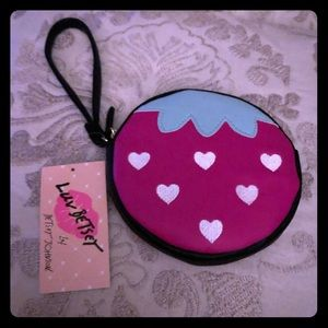 NWT Betsy Johnson strawberry coin purse wristlet